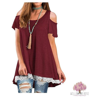 ,sassy-chic-clothing-boutique,Brick red cold shoulder lace top,Willowing Rose Boutique! Formerly Sassy Chic Clothing Boutique
