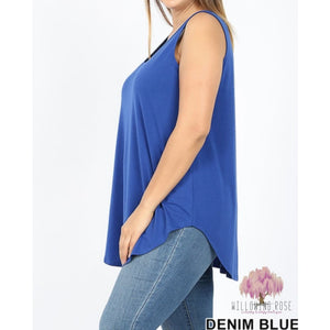 ,sassy-chic-clothing-boutique,DENIM BLUE FLOWY TANK,Sassy Chic Clothing Boutique