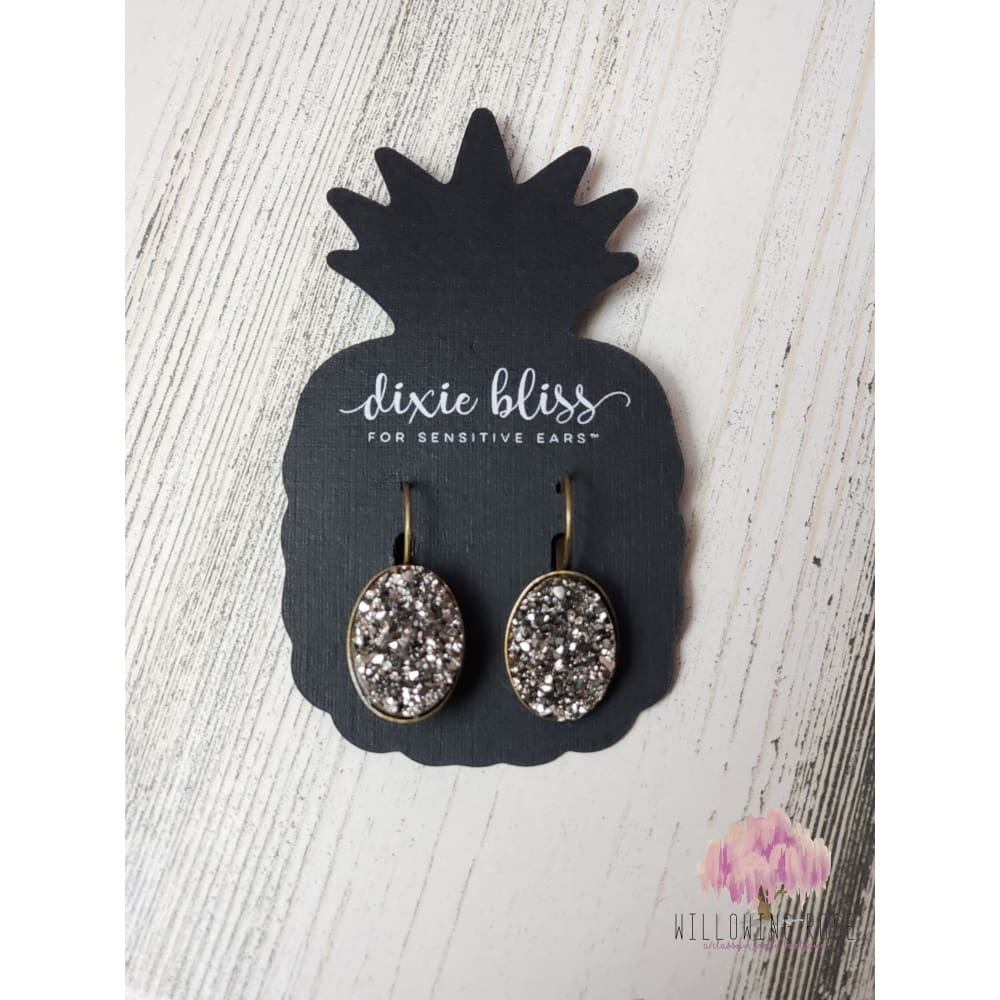 Gunmetal druzy earrings