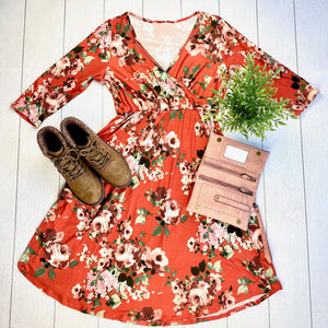IN STOCK Taylor Dress - Rust Floral