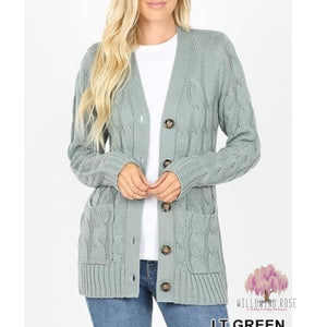 ,sassy-chic-clothing-boutique,Lt. Green Cable Knit Cardigan,Willowing Rose Boutique! Formerly Sassy Chic Clothing Boutique