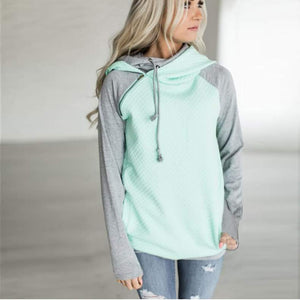 Mint color block hoodie