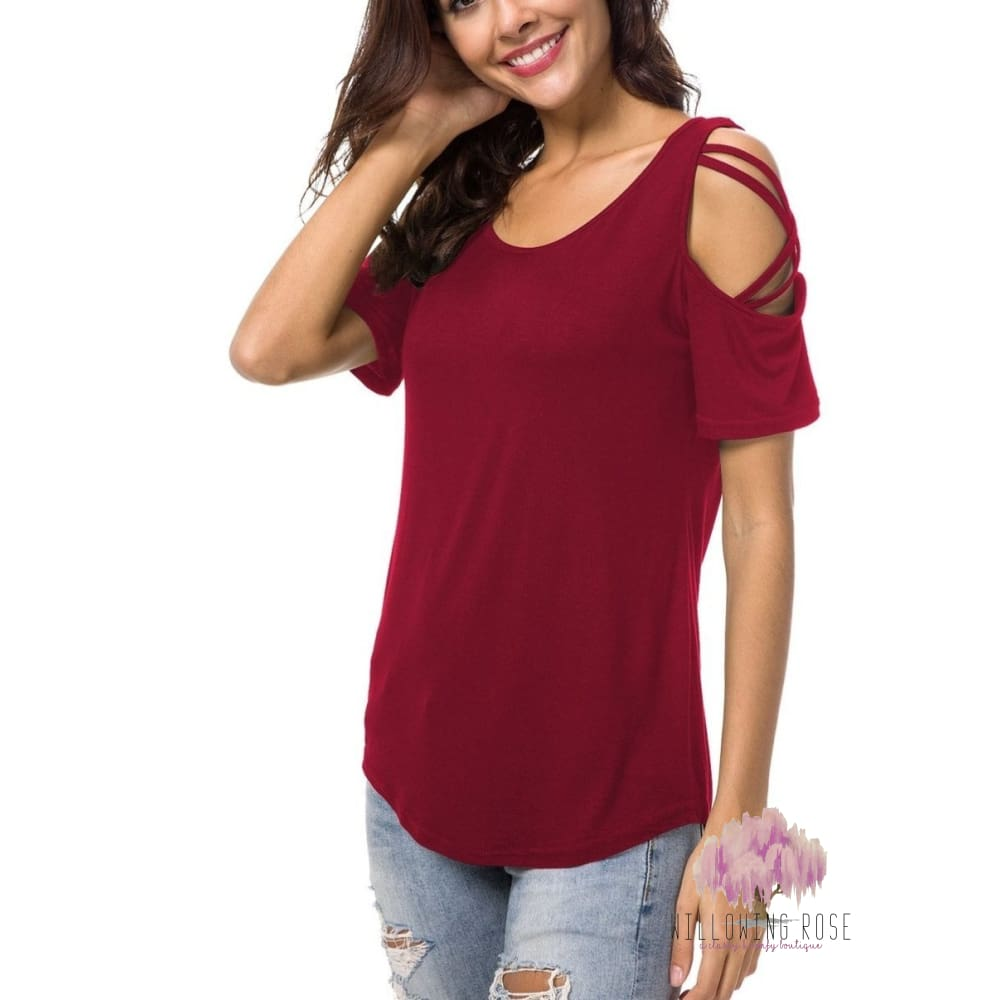 TOPS,sassy-chic-clothing-boutique,Red cold shoulder top,Willowing Rose Boutique! Formerly Sassy Chic Clothing Boutique