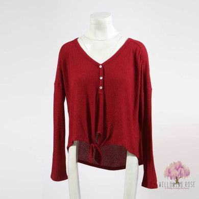 TOPS,sassy-chic-clothing-boutique,Ruby Red Henley Knot top,Willowing Rose Boutique! Formerly Sassy Chic Clothing Boutique