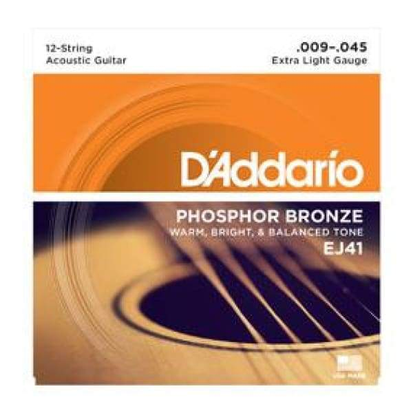 D'ADDARIO STRINGS - ACOUSTIC GUITAR STRINGS Default D'ADDARIOEJ41 12-String Phosphor Bronze, Extra Light, 9-45