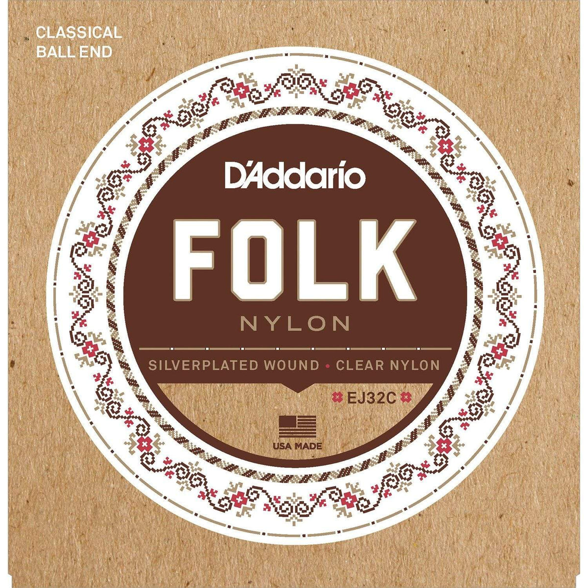 D'ADDARIO STRINGS - ACOUSTIC GUITAR STRINGS Default EJ32C Folk Nylon, Ball End, Silver Wound/Clear Nylon Trebles