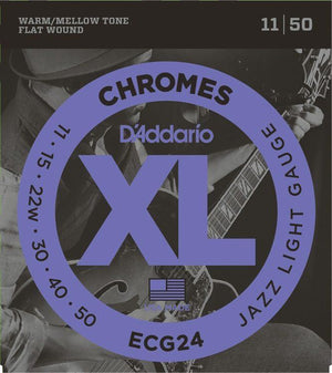 D'ADDARIO STRINGS - ELECTRIC GUITAR STRINGS Default D'Addario XL Chromes Jazz Light Electric Guitar Strings ECG24 Flatwound