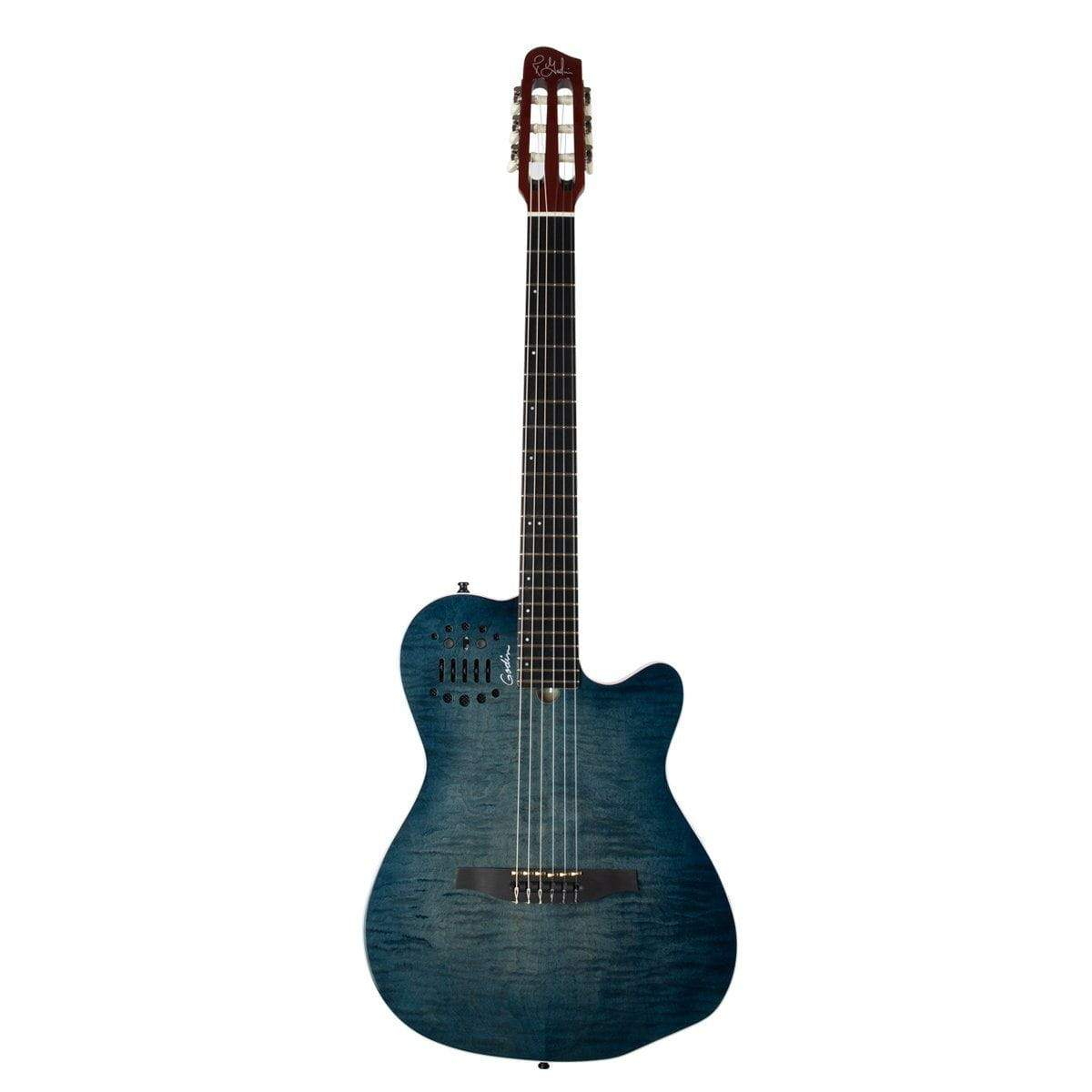 Godin GUITARS - ELECTRIC GUITARS - HYBRID Godin ACS Nylon Denim Blue Flame w/Gig Bag