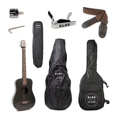Klos GUITARS - ACOUSTIC GUITARS Default KLOS Black Carbon Fiber Travel Acoustic Guitar Standard w/ Stiffening Rods, Gigbag and Accessories