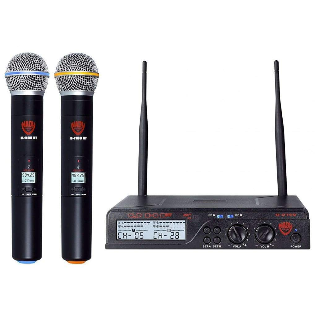 Nady Pro Audio Default Nady U-2100 Dual HT 200-Channel UHF Wireless Handheld Microphone System