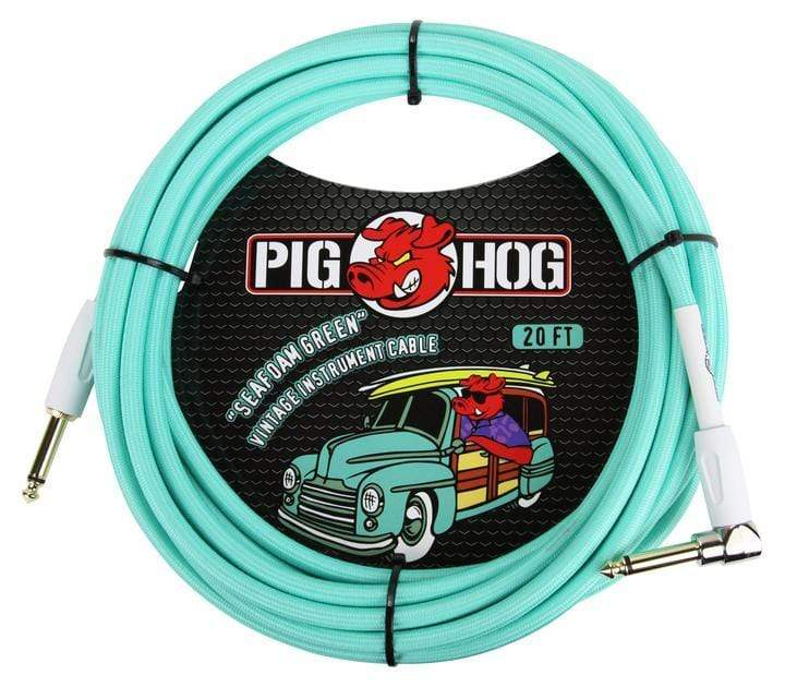 pig hog ACCESSORIES Default Pig Hog Seafoam Green Instrument Cable, 20ft Right Angle