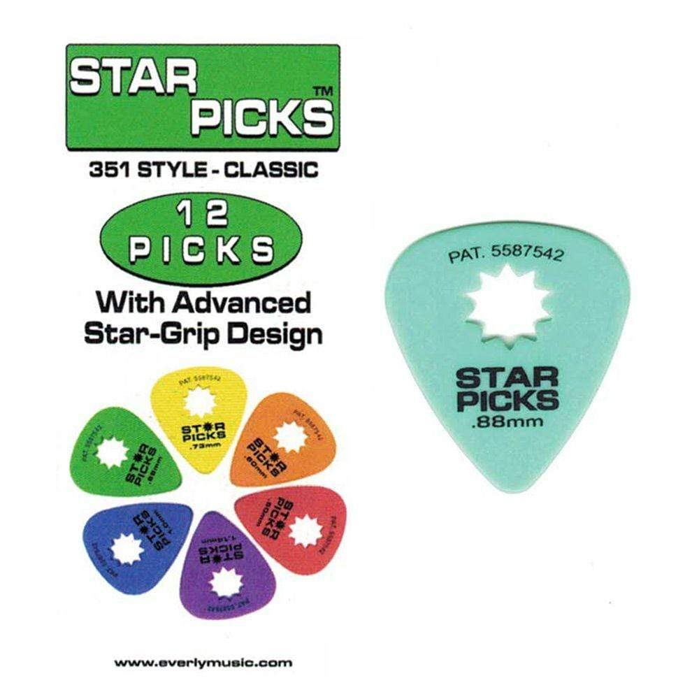 Star Picks ACCESSORIES - PICKS Default STAR PIK 12PK .88MM GREEN