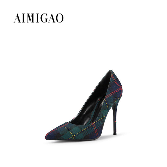 e44799de57e AIMIGAO Stylish Plaid Pointed Toe Women Pumps Heel Shoes Sexy High Heels  Women Party Shoes Ladies Pumps Shoes 2018 Spring New