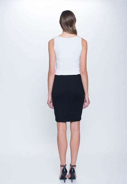 back view of outfit featuring Ponte Straight Skirt in black by Picadilly Canada