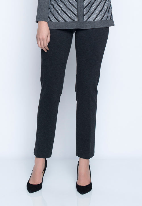 Pull-On Straight Leg Pant in grey by Picadilly Canada