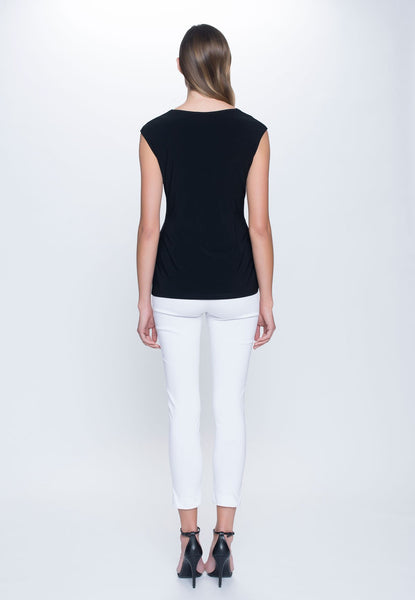 back view of outfit of Sweetheart Neckline Top in black by Picadilly Canada