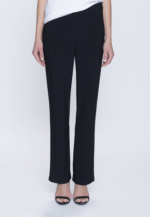 Stretchy Pull-On Straight Leg Pant in black by Picadilly Canada
