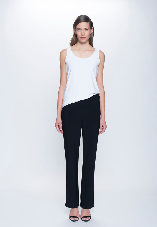 outfit of Stretchy Pull-On Straight Leg Pant in black by Picadilly Canada