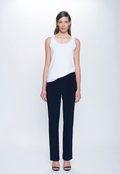 Stretchy Pull-On Straight Leg Pant in deep navy by Picadilly Canada