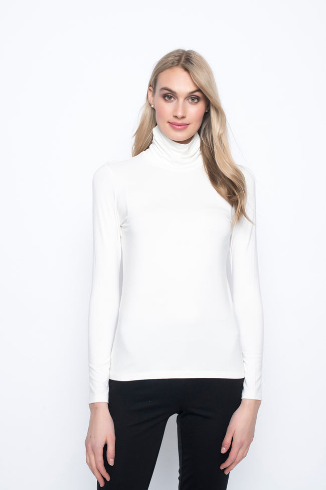 Long sleeve Turtleneck Top in white by Picadilly canada