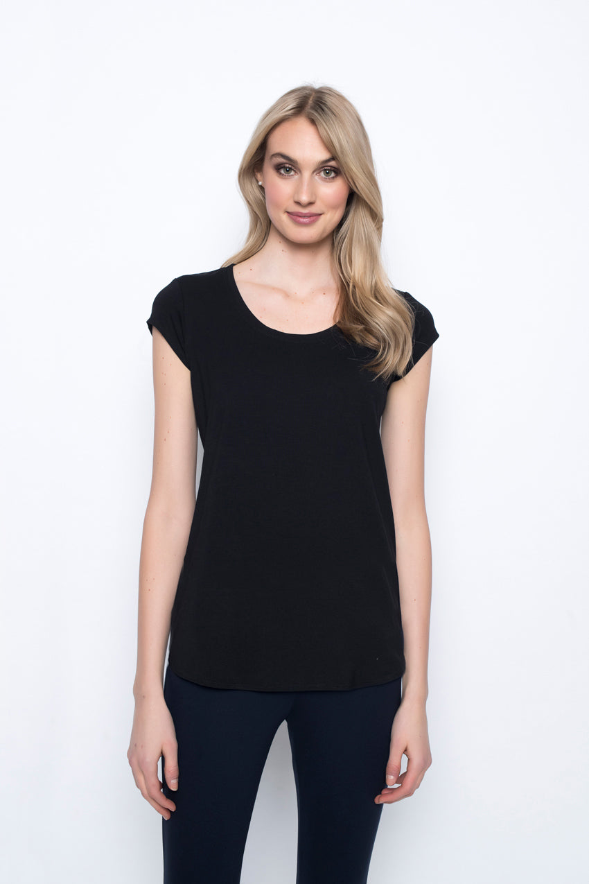 Scoop Neck Short Sleeve Top in black by Picadilly Canada