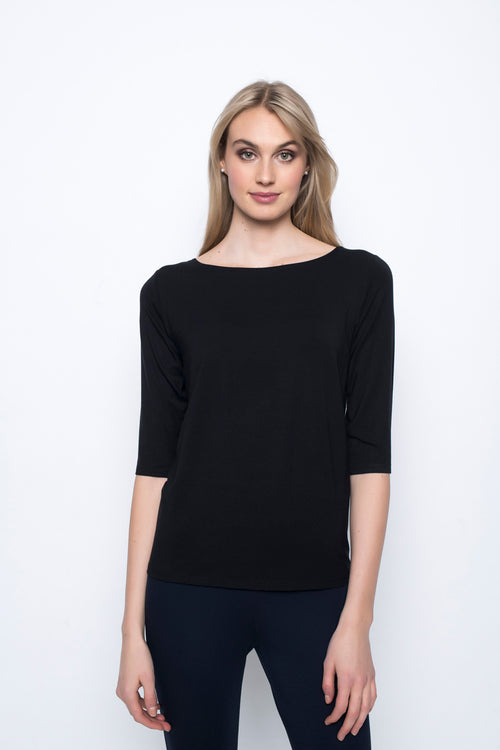 ¾ Sleeve Boat Neck Top in black by Picadilly Canada