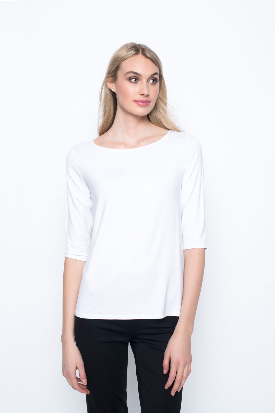 ¾ Sleeve Boat Neck Top in white by Picadilly Canada