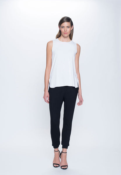 outfit featuring Curved Hem Tank Top in white by Picadilly canada