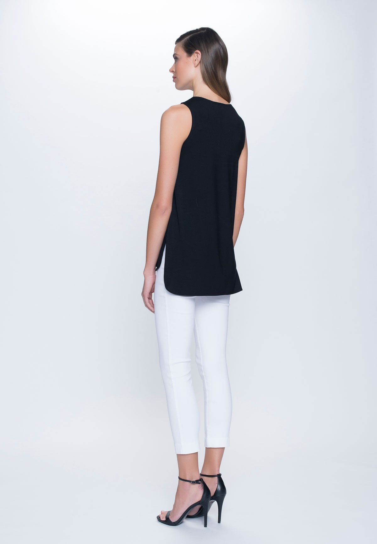 side view of outfit featuring Curved Hem Tank Top in black by Picadilly canada