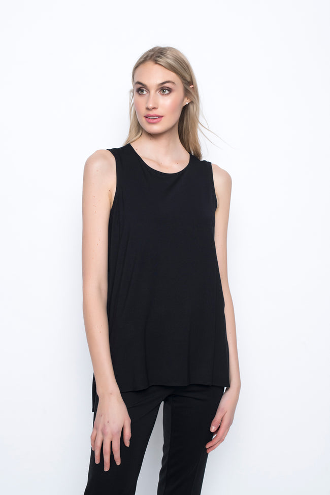 Curved Hem Tank Top in black by Picadilly canada