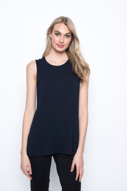 Curved Hem Tank Top in deep navy by Picadilly canada