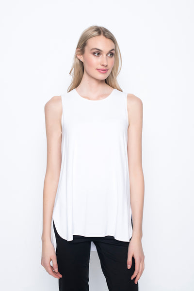 Curved Hem Tank Top in white by Picadilly canada