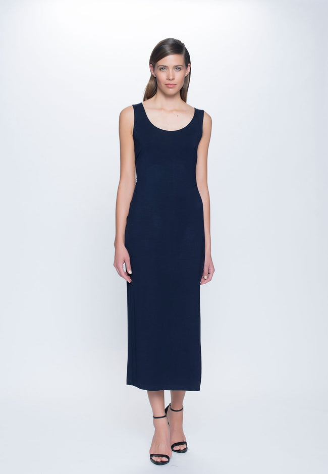 Maxi Dress with High Side Slit in deep navy by picadilly canada
