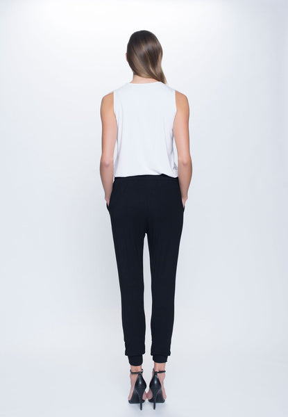 back view Drawstring Pant in black by Picadilly canada