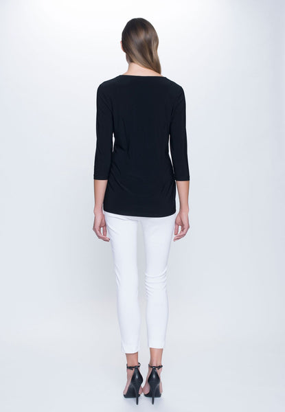 back view of outfit featuring 3/4 Sleeve Round Neck Top in black by Picadilly canada