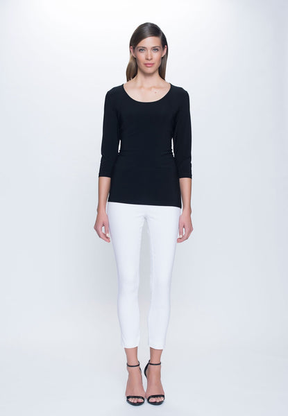 outfit featuring 3/4 Sleeve Round Neck Top in black by Picadilly canada