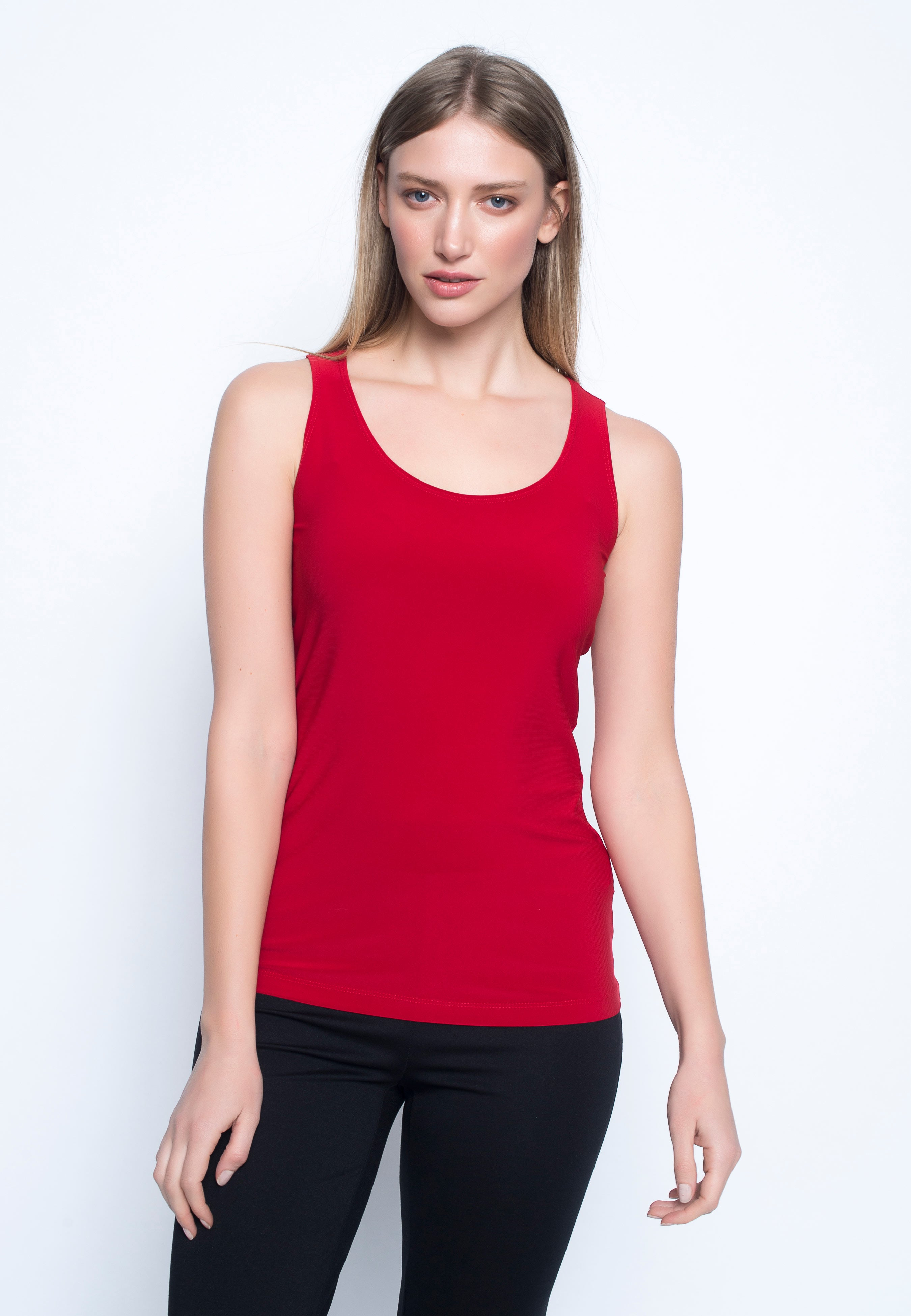 Scoop Neck Tank in red by Picadilly canada