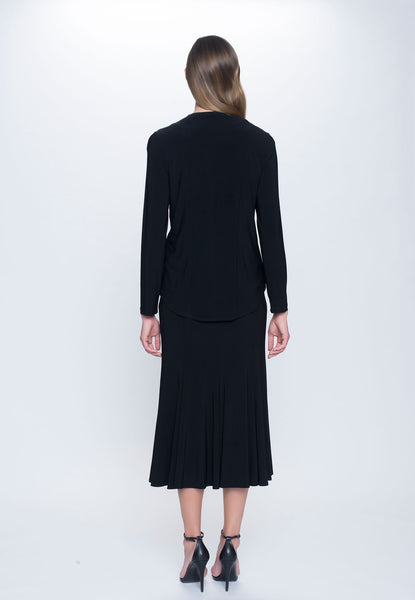 back view of outfit featuring Long Open Front Jacket in black by picadilly canada