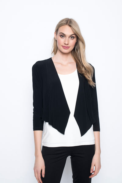 Ruffle Hem Bolero in black by Picadilly Canada