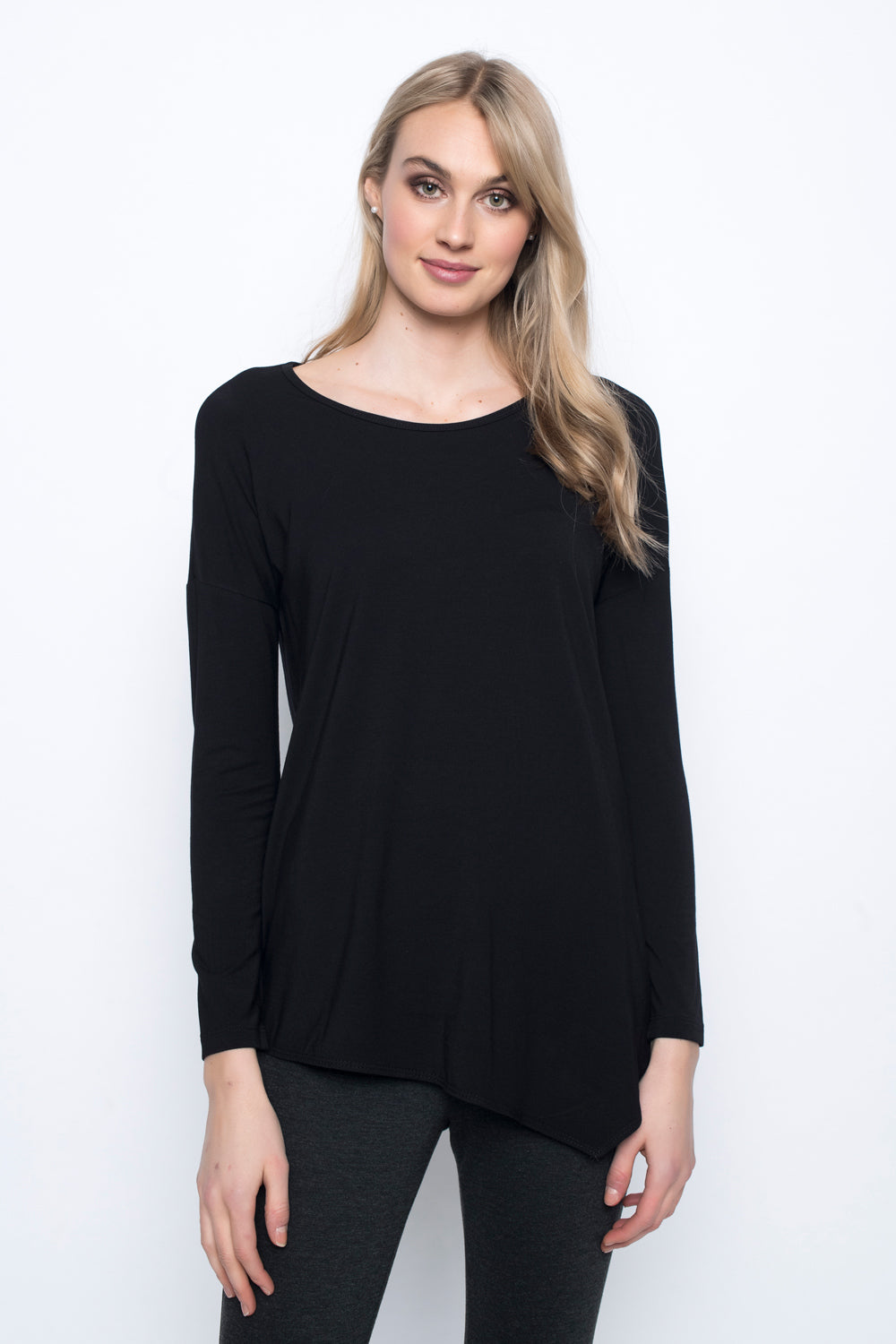 Asymmetric Hem Top in black by Picadilly canada