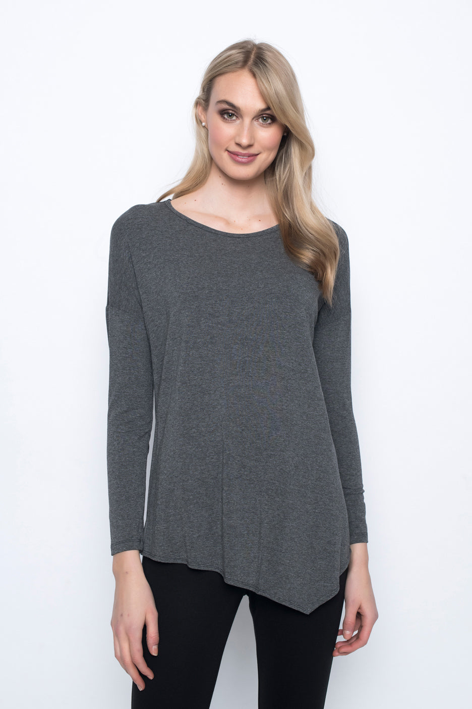 Asymmetric Hem Top in grey by Picadilly canada