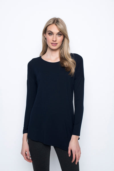 Asymmetric Hem Top in deep navy by Picadilly canada