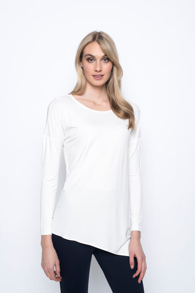 Asymmetric Hem Top in white by Picadilly canada