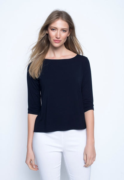 ¾ Sleeve Boat Neck Top in deep navy by Picadilly Canada