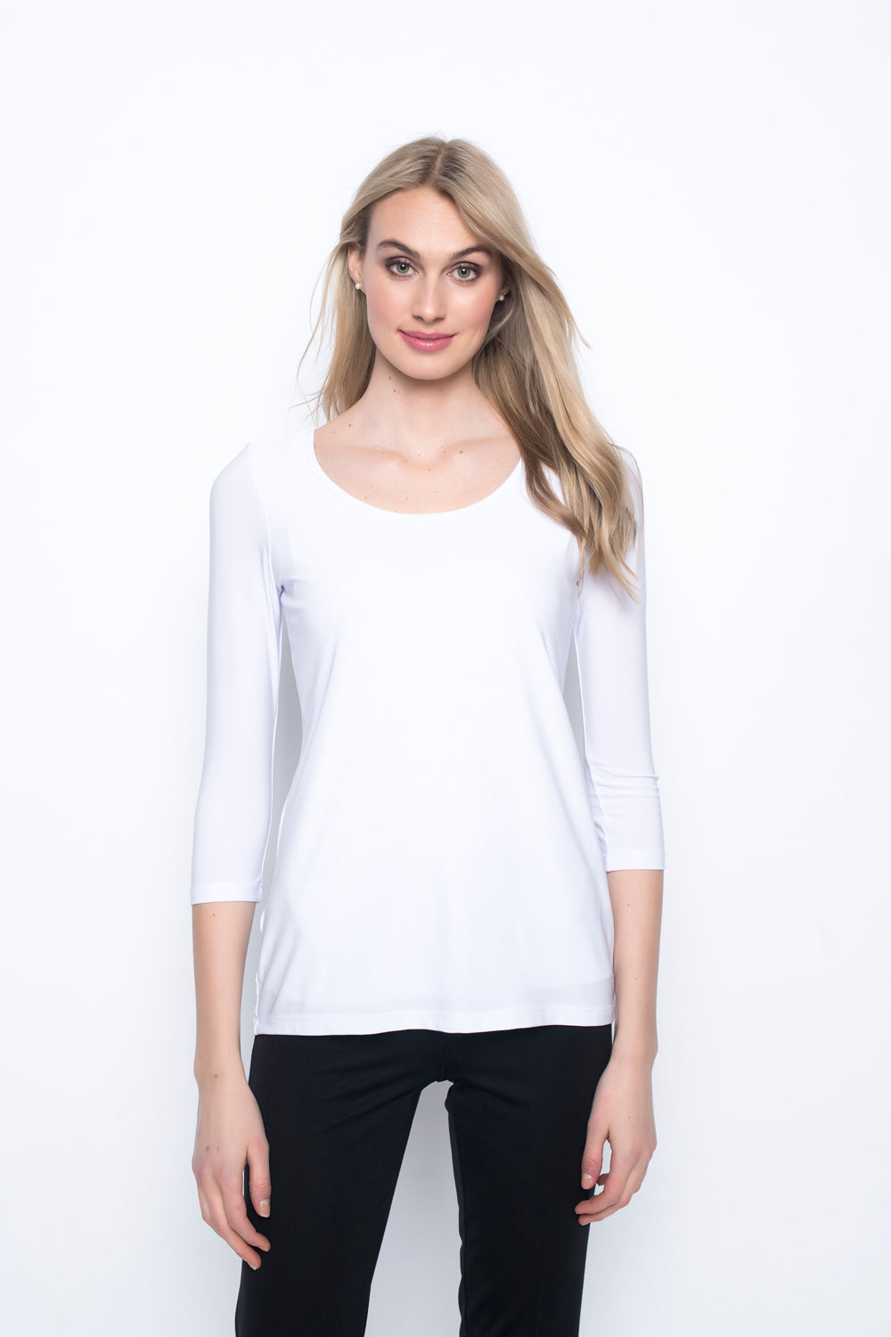 3/4 Sleeve Round Neck Top in white by Picadilly canada