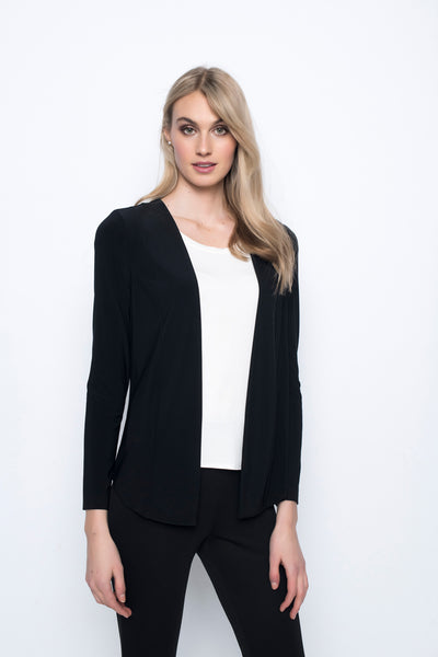 Long Open Front Jacket in black by picadilly canada