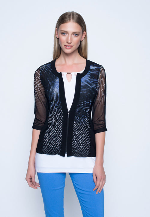 Womens 3/4 Sleeve Zip Front Jacket