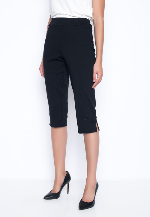 Cropped Pant With Button Detail  by Picadilly Canada