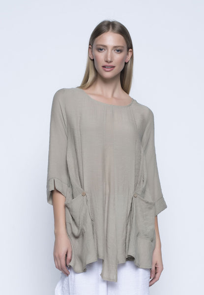 Three Quarter Sleeve Top With Pockets