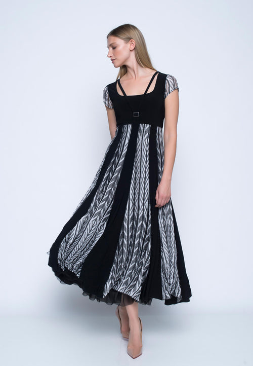 Cap Sleeve Long Flare Dress. Black maxi dress.